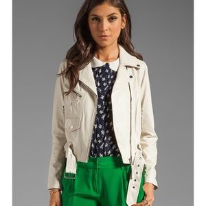 Milly light cream white real leather jacket belted